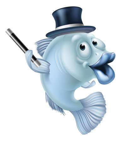 fish and chips: Dibujos animados peces mágicos o un carácter de la mascota de pescado en un sombrero de copa magos sosteniendo la varita mágica Vectores