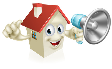 An illustration of a cartoon house character holding a megaphone and giving a thumbs up. Concept for, real estate, auction or other