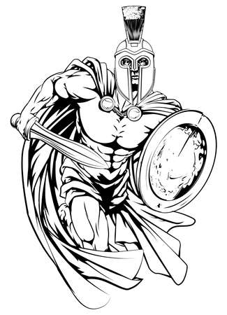 shields: An illustration of a warrior character or sports mascot  in a trojan or Spartan style helmet holding a sword and shield