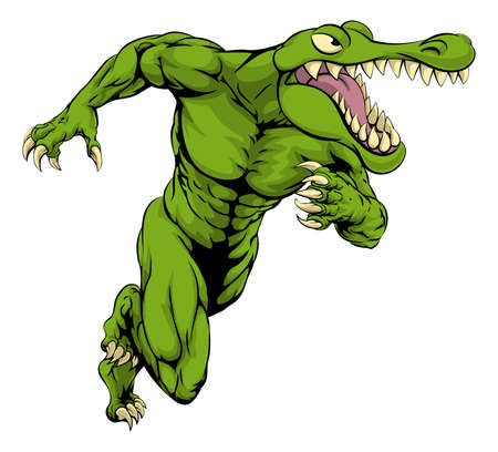 A cartoon scary alligator or crocodile mascot sprinting or charging Illustration