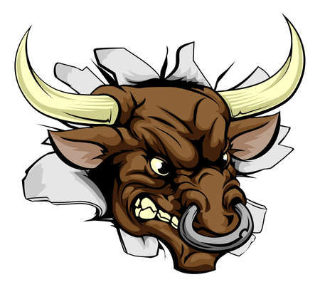 cow teeth: An illustration of a bull charging a wall and breaking through