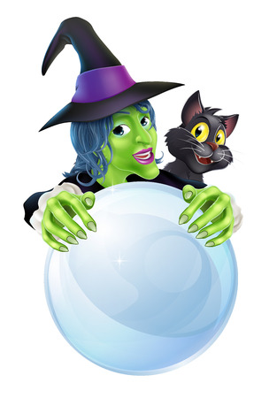 A cartoon Witch black cat and big crystal ball with space on the ball for text