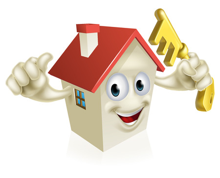 An illustration of a cartoon house character holding a key. Concept for buying a new home, real estate or similar Vector