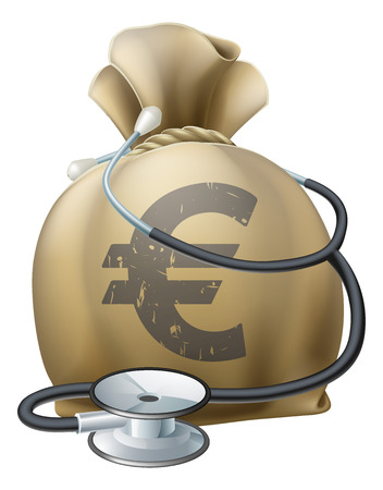 stethascope: Money sack with a stethoscope wrapped around. Concept for any medical or finance theme like health insurance, financial health, health privatisation or costs etc. Illustration