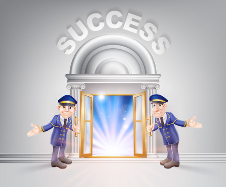 Success concept of a doormen hoding open a door to success with light streaming through it.