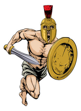 ancient warrior: An illustration of a gladiator warrior character or sports mascot  in a trojan or Spartan style helmet holding a sword and shield Illustration