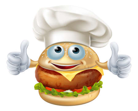 classic burger: Cartoon chef burger mascot character doing a double thumbs up