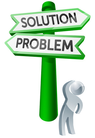 considering: A man considering his options by looking up at a sign reading problem and solution Illustration