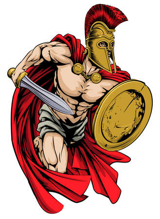 sheild: An illustration of a warrior character or sports mascot  in a trojan or Spartan style helmet holding a sword and shield