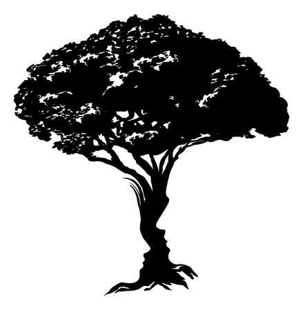 man face: Een illustratie van een abstracte boom optische illusie gevormd uit een man en vrouw gezicht conceptontwerp