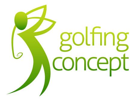 golf swing: A conceptual illustration of a golfer golfing swinging his club