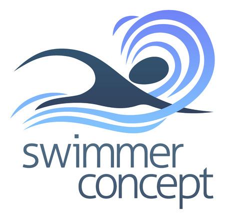 natacion: Una ilustraci�n de un nadador abstracto nadar a trav�s del dise�o olas concepto