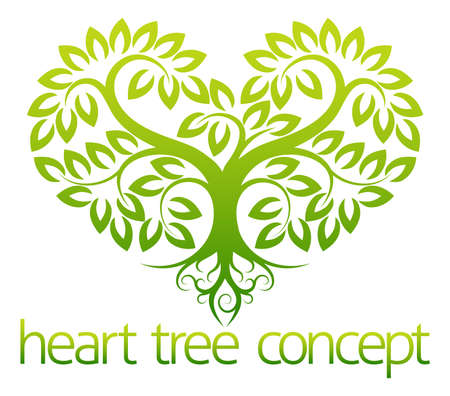 green life: An abstract illustration of a tree growing in the shape of a heart concept design