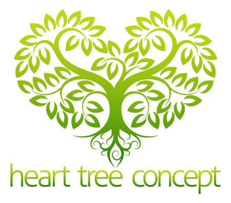 leaf tree: Un'illustrazione astratta di un albero che cresce in forma di concept design del cuore Vettoriali