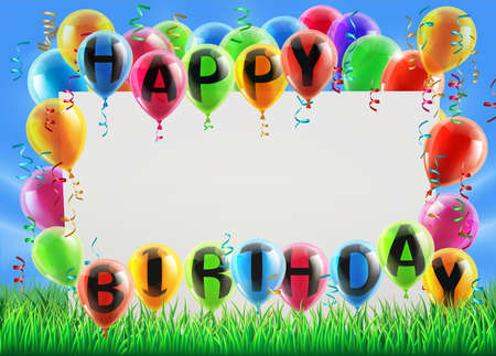 birthday invite: A sign in a field with balloons reading Happy Birthday. Great for a birthday party invite or similar