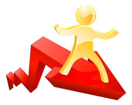 forefront: Financial concept of a graph or chart arrow moving up with a person on it