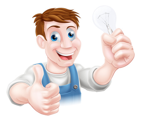 tradesman: A cartoon electrician holding a lightbulb and giving a thumbs up
