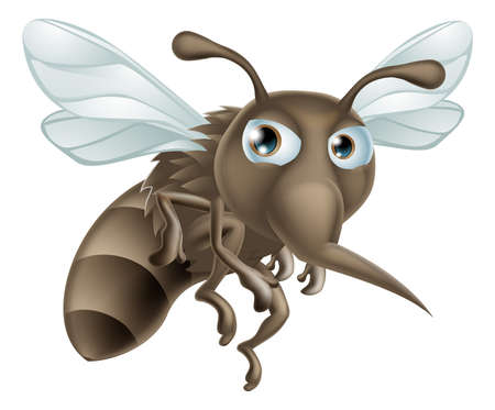 hostile: A mean looking but cute cartoon mosquito illustration