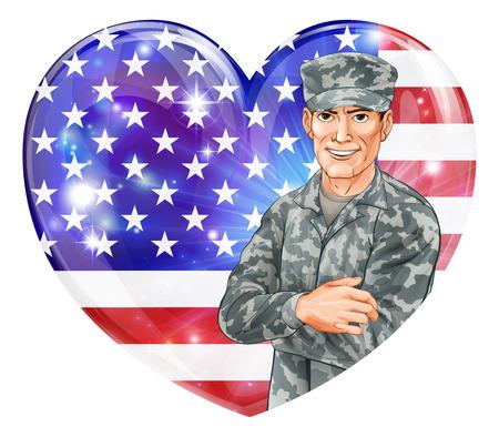 estrellas  de militares: EE.UU. Soldado Ilustración de un soldado estadounidense feliz hermoso delante de una bandera del corazón de Estados Unidos, con globos de fiesta. Grande para el 4 de julio día de los Veteranos, Día de la Independencia o similar.