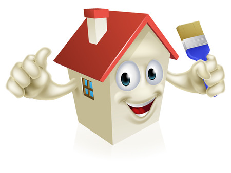 home improvement: An illustration of a cartoon house character holding a paintbrush. Concept for home improvement, DIY or similar Illustration