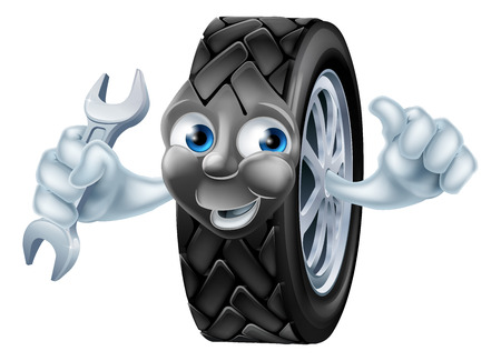 machanic: Tyre mascot mechanic cartoon character with spanner or wrench giving a thumbs up