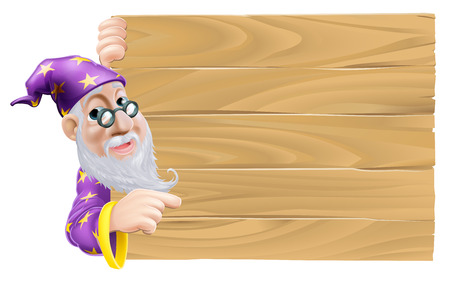 An illustration of a wizard and a blank wooden sign Vector