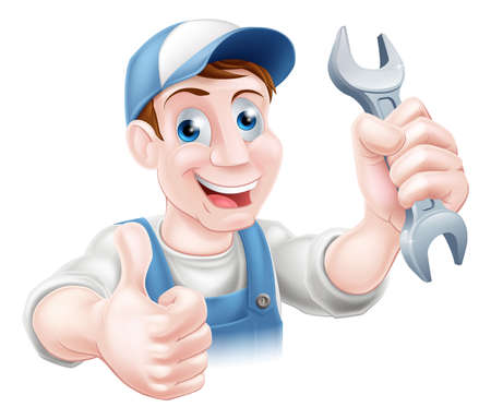 plummer: A plumber or mechanic in hat and overalls holding a spanner and giving a thumbs up