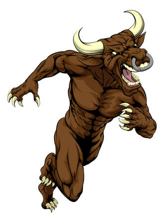 runing: An illustration of a mean tough looking bull sports mascot sprinting