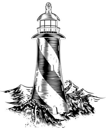 lithograph: A lighthouse in a vintage lithograph style with rough waves behind