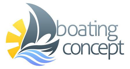 barca a vela: Un'illustrazione astratta di una barca a vela concetto nave di design
