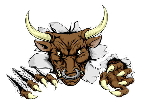 hostile: A scary bull mascot ripping through the background with sharp claws Illustration
