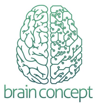circuito electrico: Un ejemplo abstracto de un circuito eléctrico de diseño medio cerebro concepto de tabla