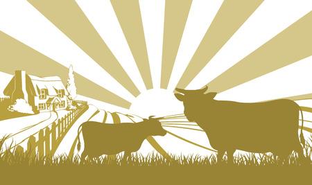 vaca caricatura: Una ilustraci�n de una casa de campo con tejado de paja en un paisaje id�lico de colinas con dos vacas en silueta de pie en el primer plano