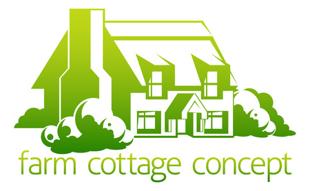 thatch: An abstract illustration of a farm cottage concept design