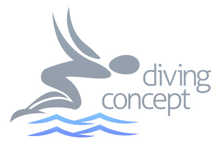 swimming silhouette: An illustration of an abstract swimmer diving into the water concept design