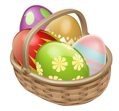 ester: An illustration of an Easter Egg hamper basket with chocolate decorated eggs