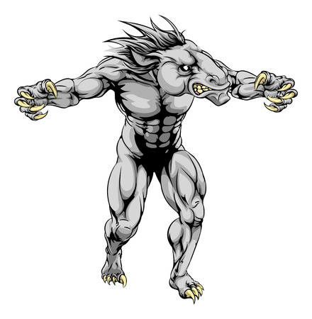 bronco: An illustration of a Horse scary sports mascot with claws out