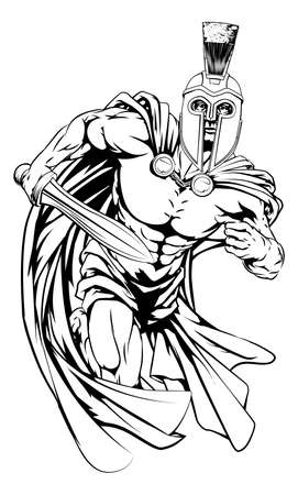 An illustration of a warrior character or sports mascot  in a trojan or Spartan style helmet holding a sword Illustration