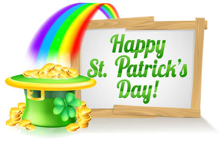 leprechaun hat: A St Patricks Day sign Happy reading St Patricks Day with a Leprechaun hat with shamrock four leaf clover and full of gold coins at the end of the rainbow