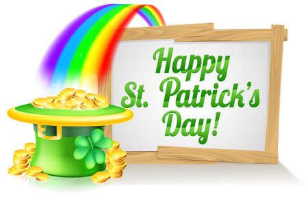 arcoiris caricatura: Un signo St Patricks Day feliz leyendo D�a de San Patricio con un sombrero de duende con el tr�bol de cuatro hojas de tr�bol y lleno de monedas de oro al final del arco iris
