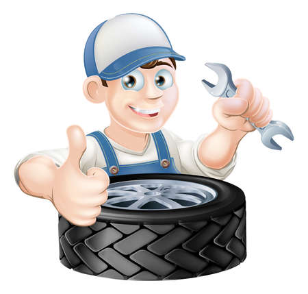 mecanic: Auto mechanic giving thumbs up with a spanner and auto-mobile vehicle tyre