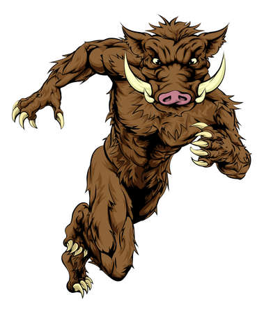 strong men: An illustration of a mean looking boar sports character mascot sprinting