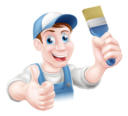 decorator: A handyman or decorator holding a paintbrush and doing a thumbs up Illustration