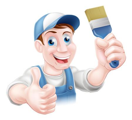 brocha de pintura: Un personal de mantenimiento o decorador que sostiene una brocha y haciendo un pulgar hacia arriba Vectores