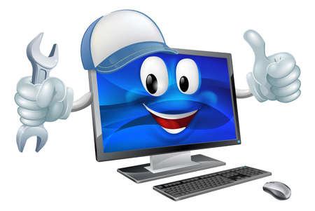 computer mascot: A computer charcter mascot wearing a baseball cap and holding a  spanner while doing a thumbs up
