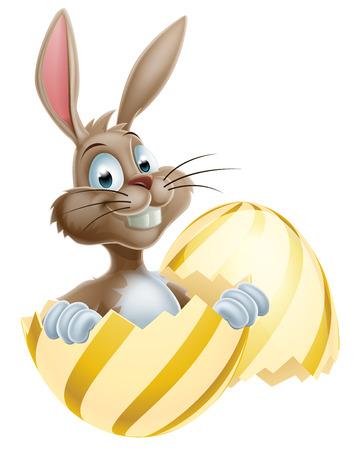 buny: An cute cartoon Easter bunny peeking out of a gold egg
