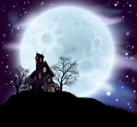 houses house: An illustration of a scary Halloween haunted house in silhouette with spooky trees