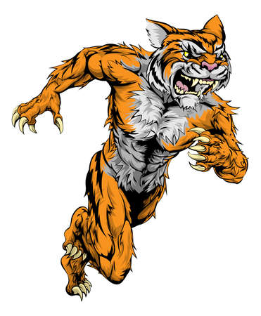 sprinting: A tiger man character or sports mascot charging, sprinting or running Illustration
