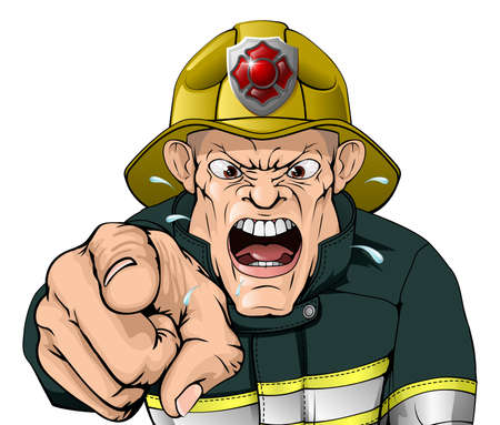 man yelling: A cartoon angry fire fighter character shouting and pointing his finger Illustration