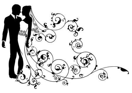 bride and groom illustration: A  bride and groom dancing or about to kiss on their wedding day with floral scroll pattern